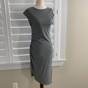 Topshop muted green ruched print dress, size 4. Workwear career